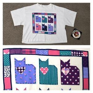Super cute! VINTAGE Spumoni cropped shirt cats S